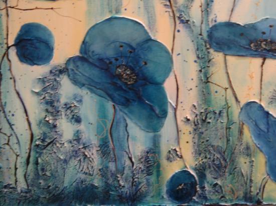 Les pavots bleus (détail)
